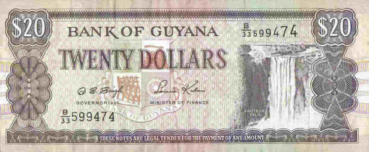 1763 monument guyana. The 20 Guyanese Dollar note