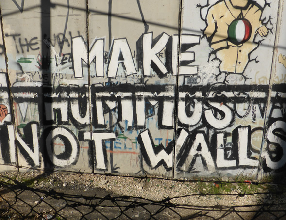u0027Make Hummus Not Wallsu0027 is a well known piece of wall art - Bethlehem & Palestine 1 this-other-world